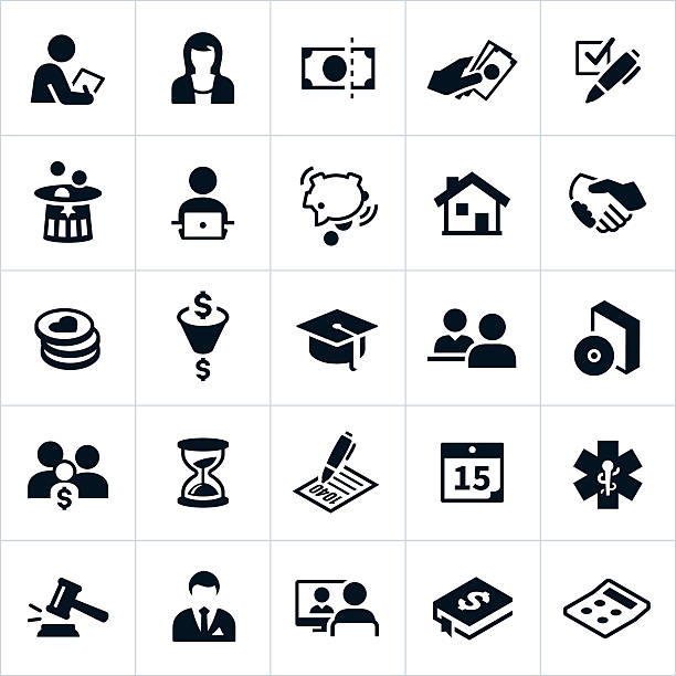 Taxes Icons Icons related to taxes. The icons represent tax specialists, accountants, money, filing, deductions and other tax related concepts. Icons include an accountant, tax specialist, tax deductions, money, piggy bank, retirement nest egg, charitable contributions, forms, and other tax themes. tax form stock illustrations