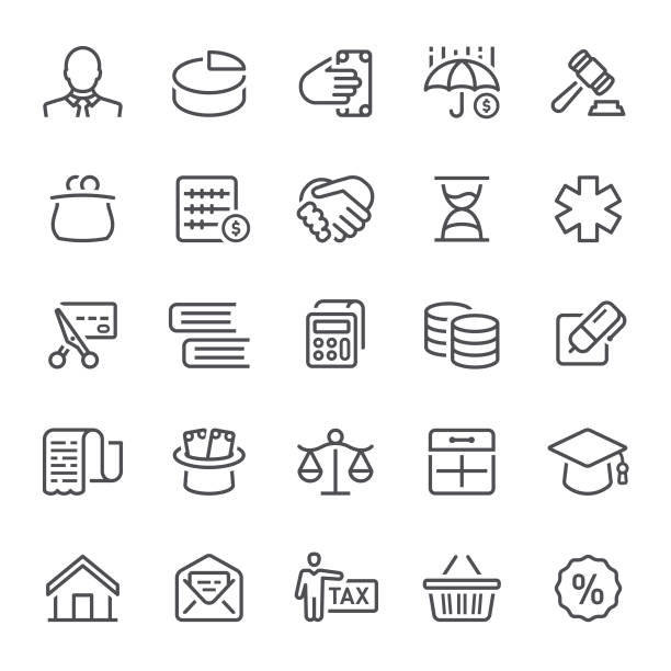 Taxes Icons Taxes, finance, banking, icon, icon set, money, calculator budget symbols stock illustrations