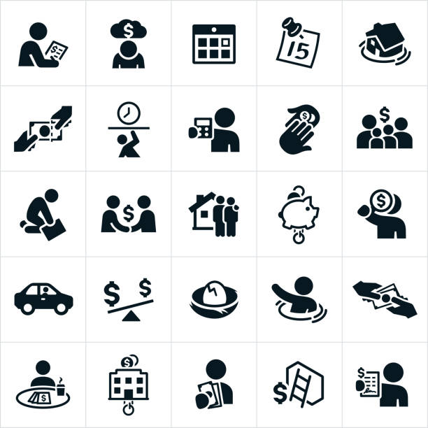 Taxes Icons Icons related to the tax industry. The icons include the paying of taxes, tax day, calendar, tax deductions, family, mortgage taxes, piggy bank, nest egg, debt, business taxes and an accountant to name a few. tax form stock illustrations