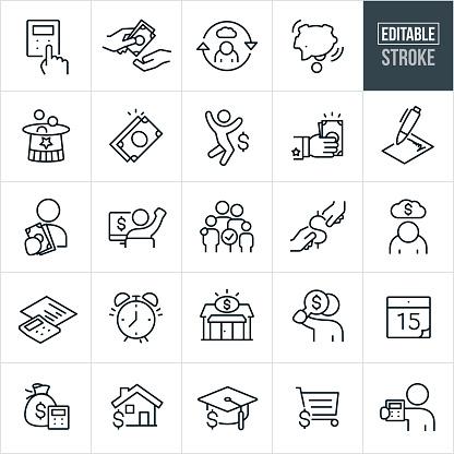 Taxes Thin Line Icons - Editable Stroke