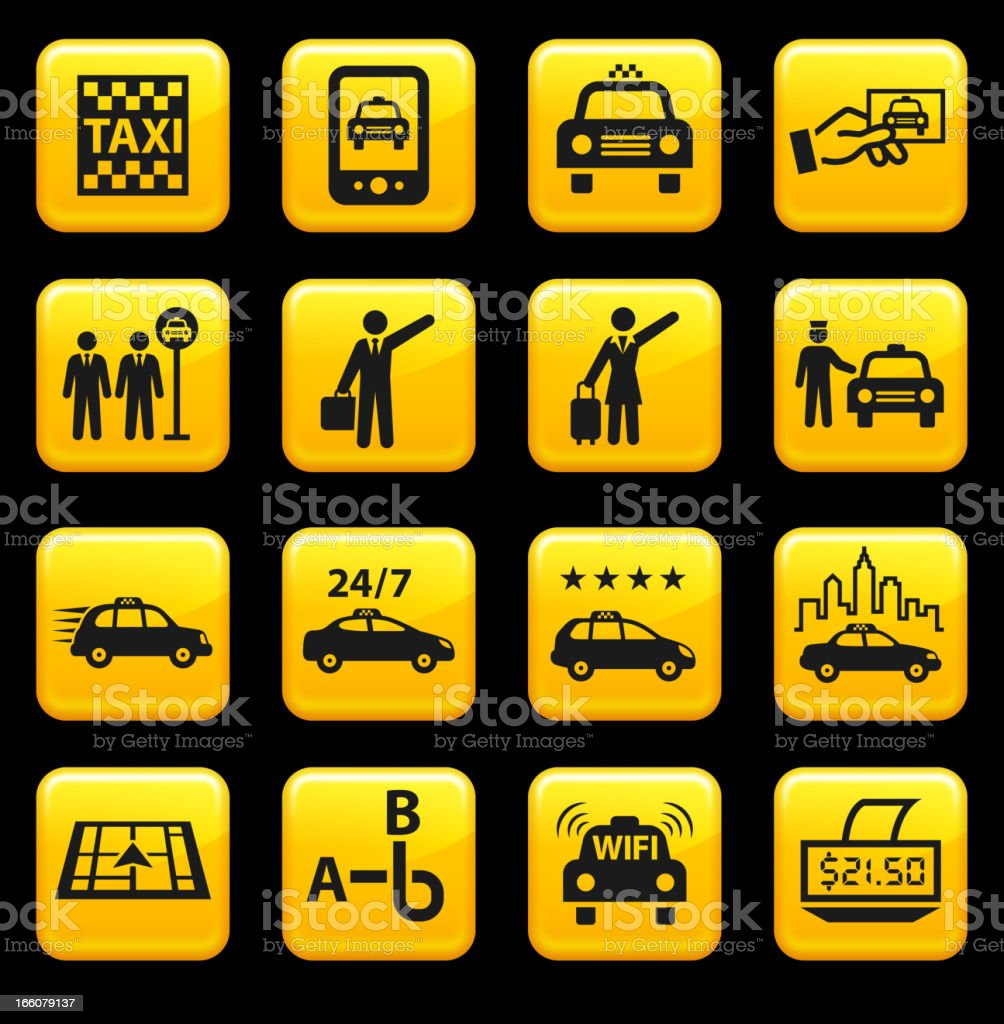 Taxi and Car Service royalty free vector icon set stickers royalty-free stock vector art