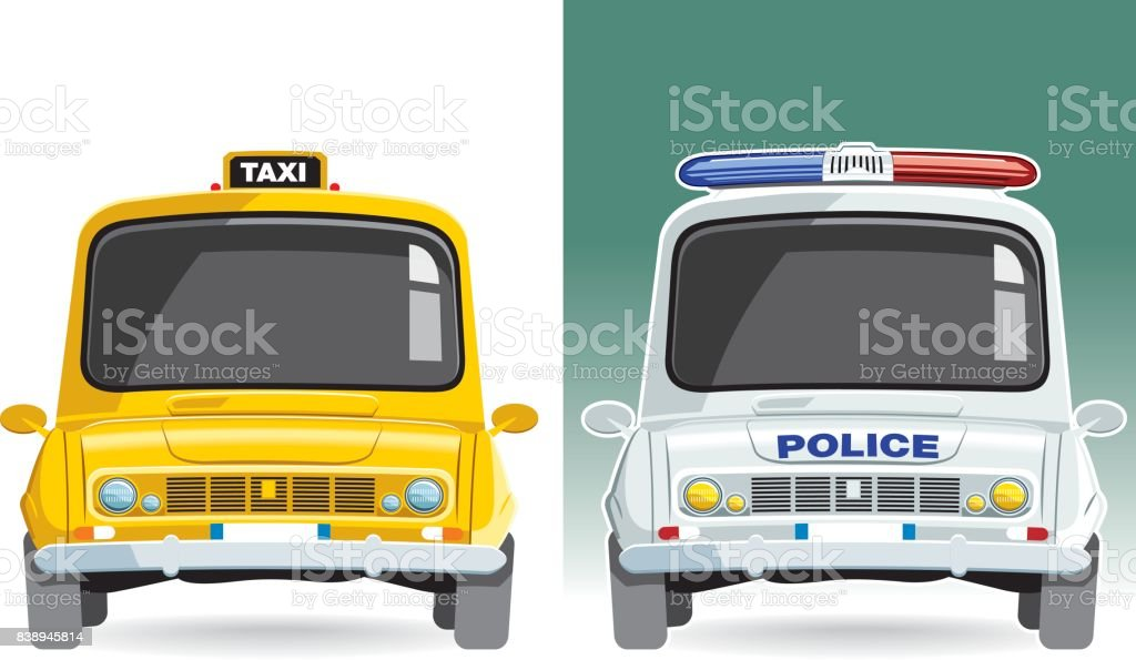 Taxi and police car vector vector art illustration