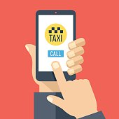 Taxi app on smartphone screen. Get taxi with mobile phone