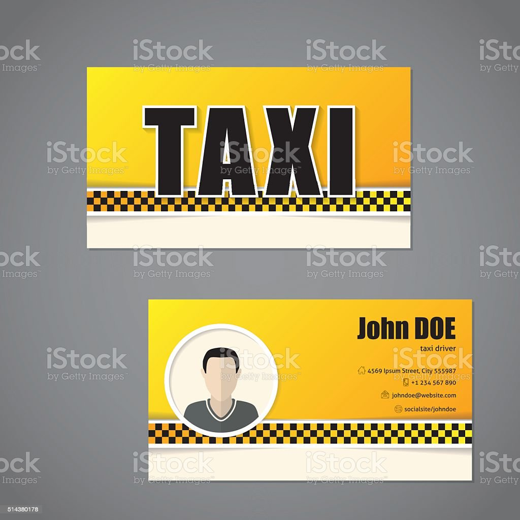 Taxi Modle De Carte Visite Avec Chauffeur Photo