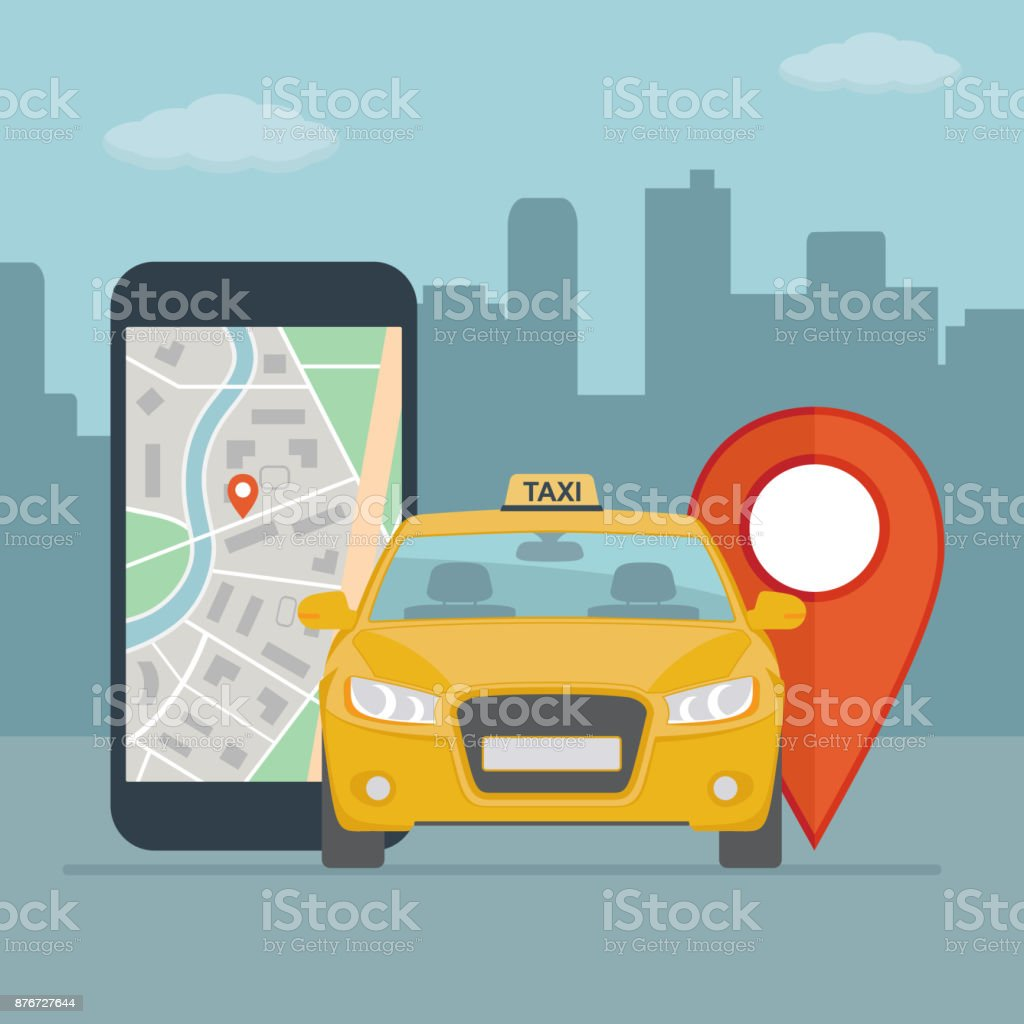 Taxi cab and mobile phone with map on city background. vector art illustration
