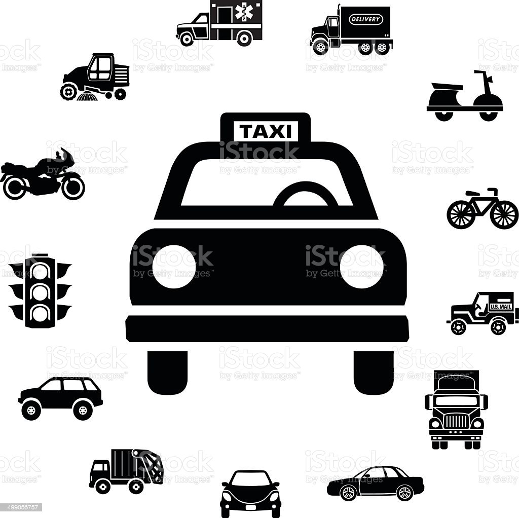 taxi cab and transportation icon ring border vector art illustration