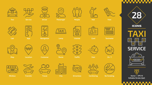 Taxi cab car service editable stroke line icon set on a yellow background with motor vehicles, driver, passenger on travel, people and city traffic thin outline pictogram. Taxi cab car service editable stroke line icon set on a yellow background with motor vehicles, driver, passenger on travel, people and city traffic thin outline pictogram. hailing a ride stock illustrations