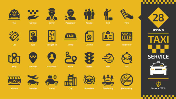 Taxi cab car service glyph icon set on a yellow background with fast motor vehicles, driver, passenger on travel, people and city traffic silhouette sign. Taxi cab car service glyph icon set on a yellow background with fast motor vehicles, driver, passenger on travel, people and city traffic silhouette sign. hailing a ride stock illustrations