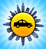 Taxi Cab  on Modern Cityscape Skyline Background. The main image depicted is placed on a shiny round button. The button is in the center of the illustration. a detailed 100% vector cityscape skyline is placed around the circumference of the button and includes various office, residential condominium and commercial real estate buildings. There is a blue sky background with a star burst glow rendered behind the buildings. The image is ideal for displaying city life concepts and ideas.