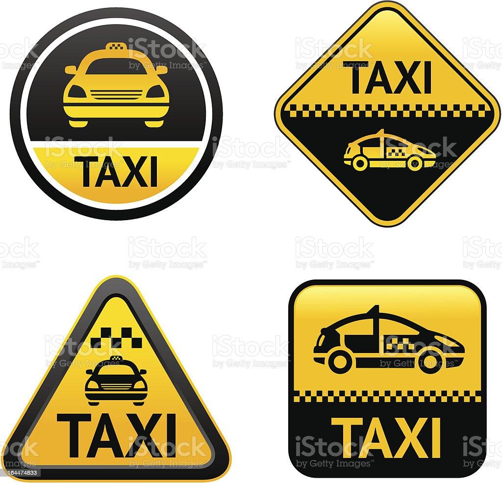 Taxi cab set buttons vector art illustration