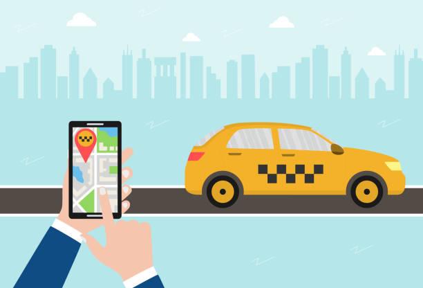 ilustrações, clipart, desenhos animados e ícones de conceito de aplicativo móvel de chamada de táxi. a mão masculina prende um smartphone com um mapa e um gps da cidade, destino. carro amarelo do táxi na estrada. ilustração plana do vetor no fundo urbano. - mobile