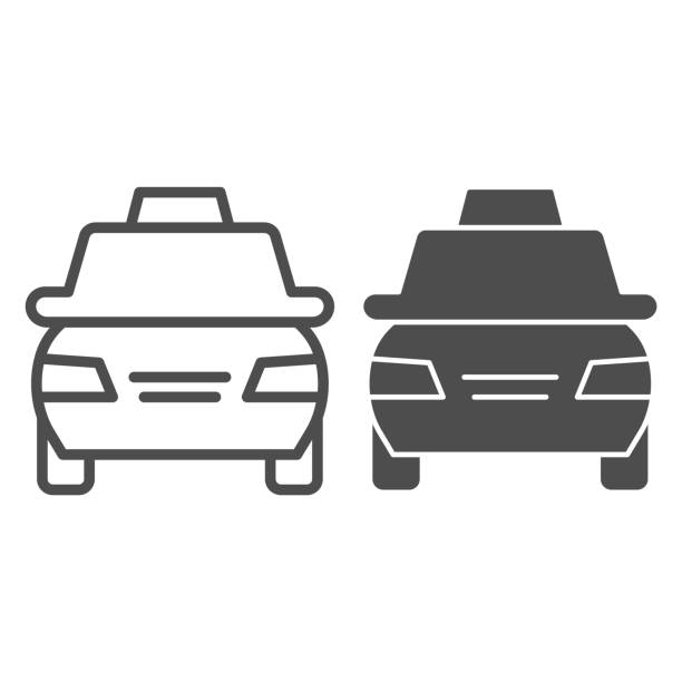 Taxi car line and glyph icon. Passenger transportation vehicle symbol, outline style pictogram on white background. Travel or tourism sign for mobile concept and web design. Vector graphics. Taxi car line and glyph icon. Passenger transportation vehicle symbol, outline style pictogram on white background. Travel or tourism sign for mobile concept and web design. Vector graphics hailing a ride stock illustrations