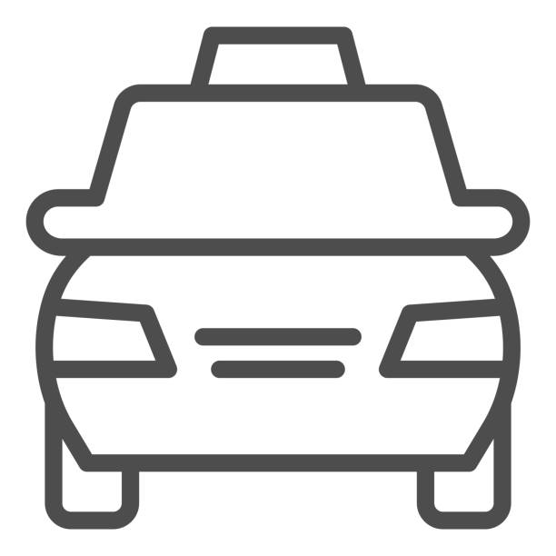 Taxi car line icon. Passenger transportation vehicle symbol, outline style pictogram on white background. Travel or tourism sign for mobile concept and web design. Vector graphics. Taxi car line icon. Passenger transportation vehicle symbol, outline style pictogram on white background. Travel or tourism sign for mobile concept and web design. Vector graphics hailing a ride stock illustrations