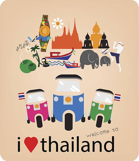 taxi-liebe-herz mit thai-icons und symbole - ayutthaya stock-grafiken, -clipart, -cartoons und -symbole