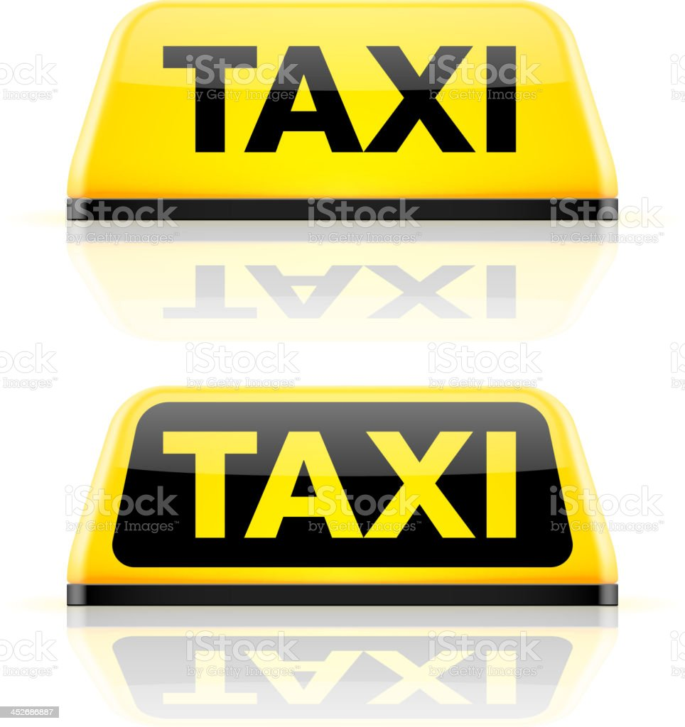 Taxi car roof sign vector art illustration