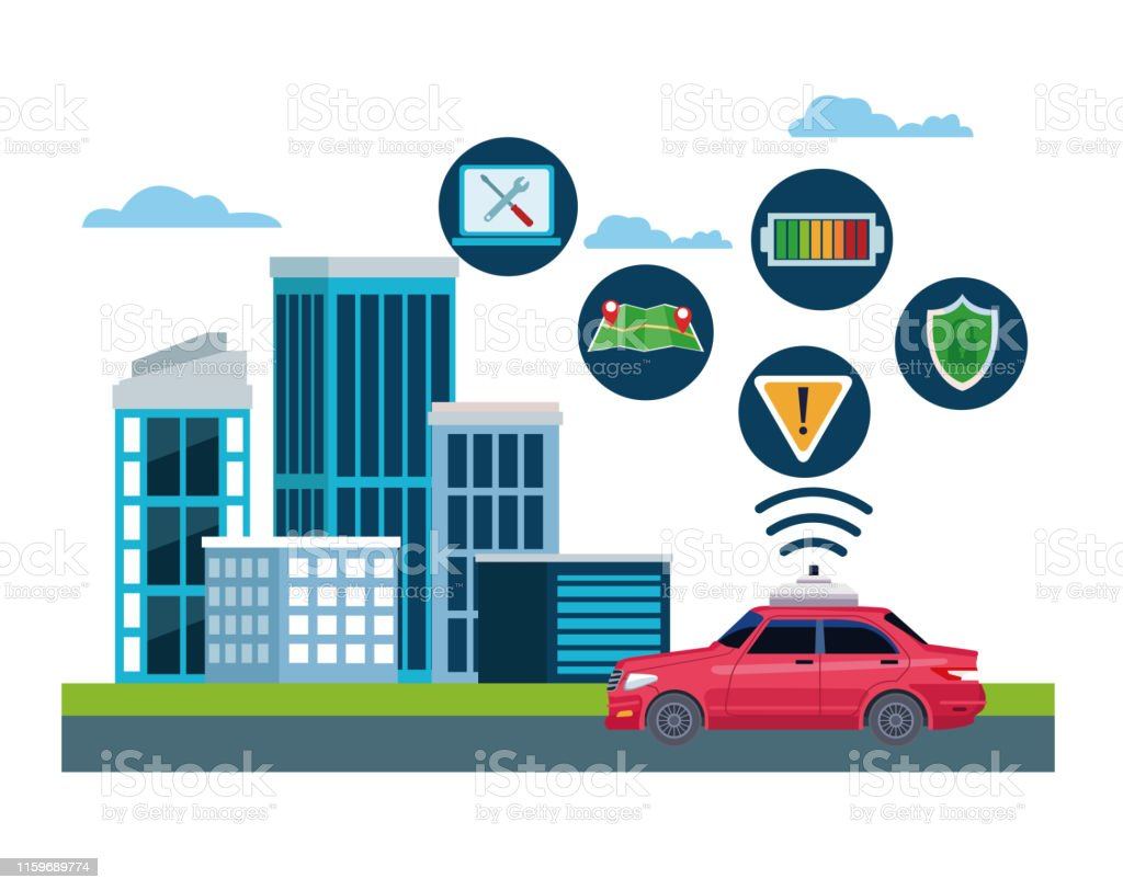 taxi car service location concept technology icons with computer,...