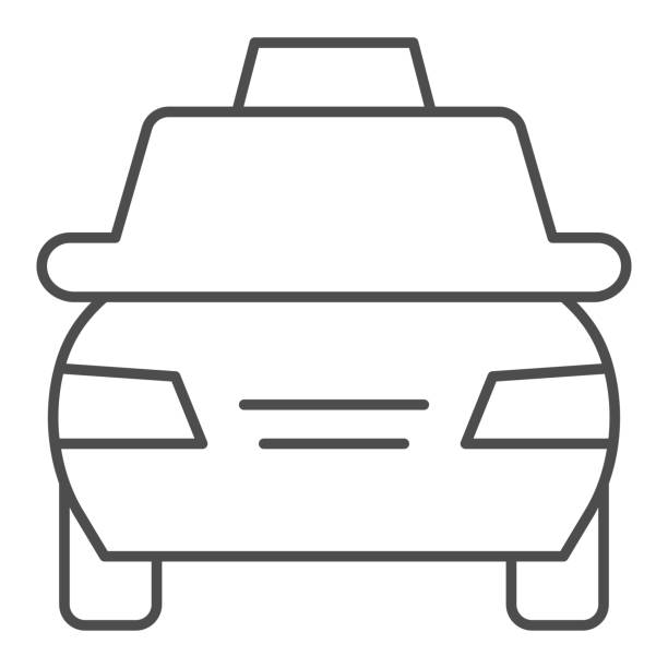 Taxi car thin line icon. Passenger transportation vehicle symbol, outline style pictogram on white background. Travel or tourism sign for mobile concept and web design. Vector graphics. Taxi car thin line icon. Passenger transportation vehicle symbol, outline style pictogram on white background. Travel or tourism sign for mobile concept and web design. Vector graphics hailing a ride stock illustrations