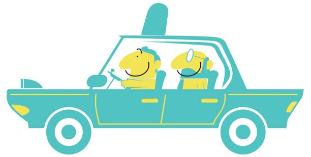 Taxi driver and smiling businessman (man) in a car (driving, airport pick up) vector art illustration