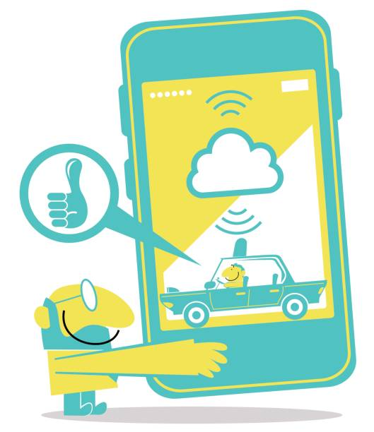 Taxi driver driving, smiling businessman with a huge smart phone with taxi service app (Uber) vector art illustration