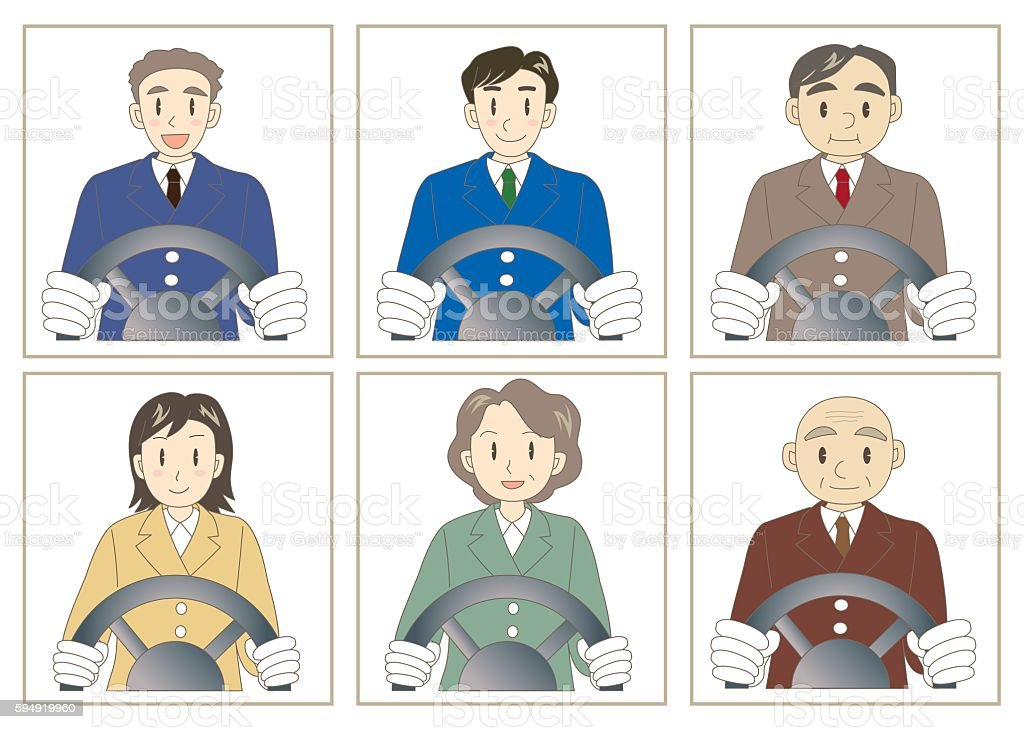 Taxi driver set vector art illustration