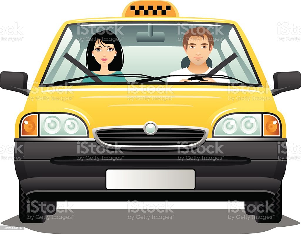 Taxi driver with a passenger vector art illustration