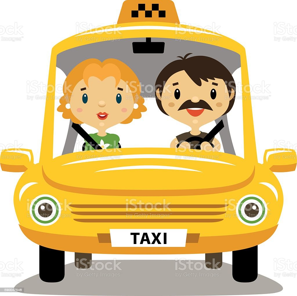 cab driver and passenger clip art, vector images & illustrations