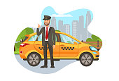 Taxi Driver with Car Isolated Cartoon Character. Happy Cab Driver Standing near Car, Showing Thumbs Up Flat Illustration. Transport Booking. Chauffeur in Uniform. Auto Rental Design Element