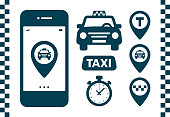 Taxi icons set. Flat style dark icons on white background. Map pin with taxi car, checks, map pins, timer signs. Taxi service banner elements