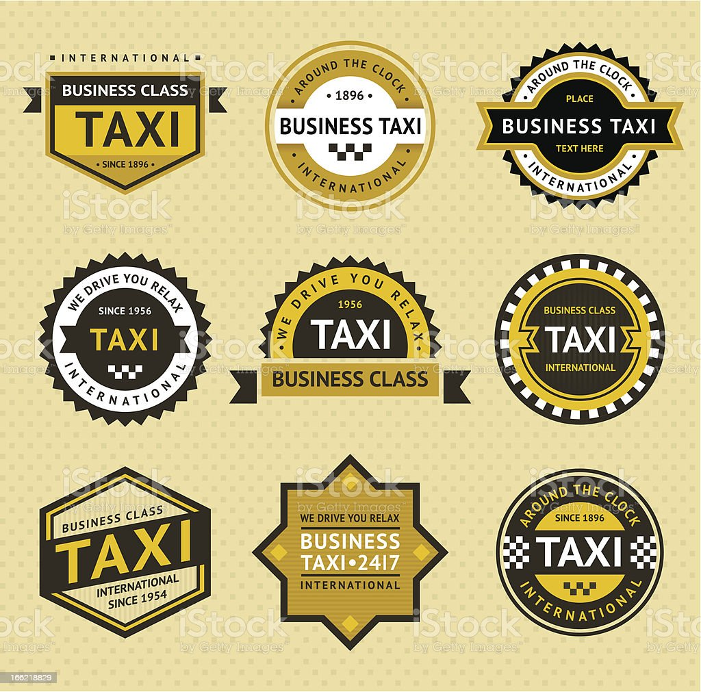 Taxi insignia - vintage style vector art illustration