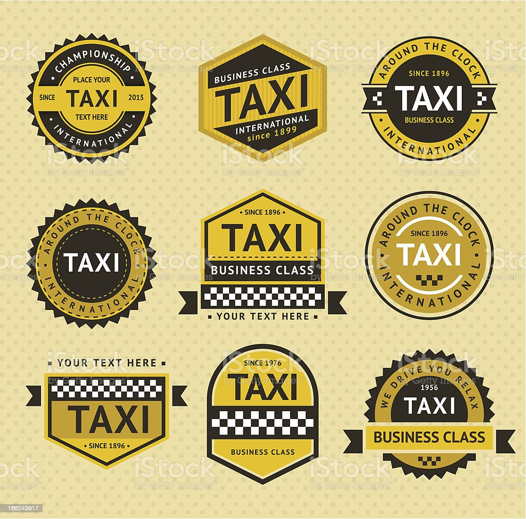 Taxi insignia, vintage style vector art illustration
