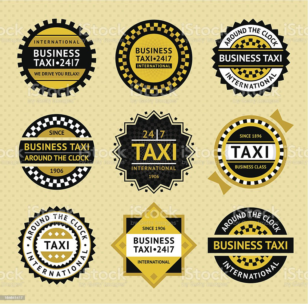 Taxi labels - vintage style royalty-free stock vector art