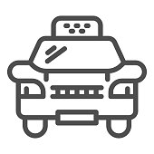Taxi line icon, Public transport concept, taxicab sign on white background, Taxi car icon in outline style for mobile concept and web design. Vector graphics