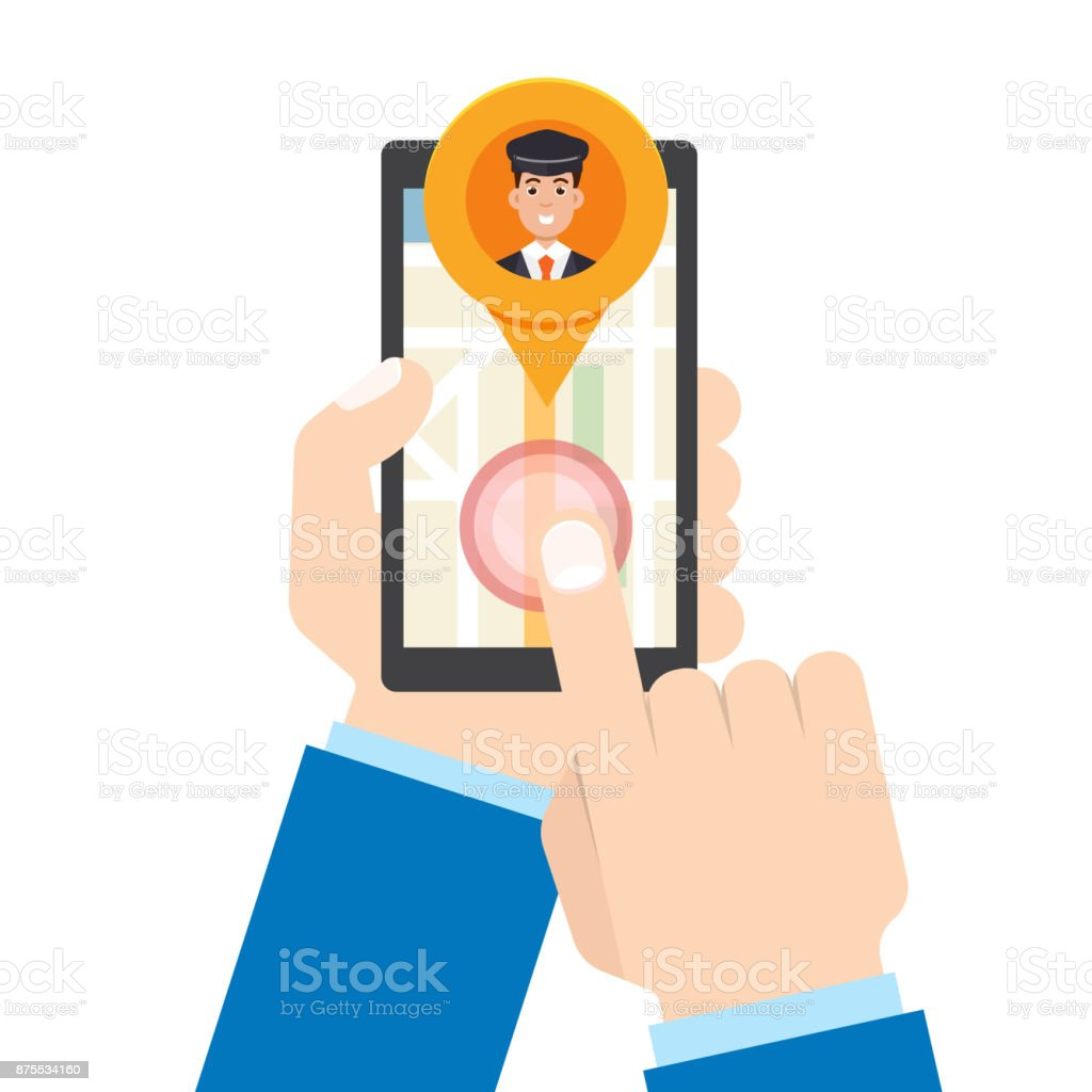 Taxi mobile app.  Man hand holds smartphone. Vector illustration. vector art illustration