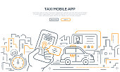 Taxi mobile app - modern line design style banner on white background with copy space for text. Online service for ordering a car in the city via smartphone. Urban landscape, driving license, timer