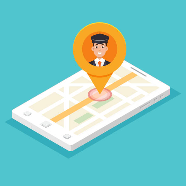 Taxi mobile app.  Smartphone isometric with cabdriver pin. Vector illustration. vector art illustration
