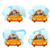 Taxi ordering flat vector illustrations set