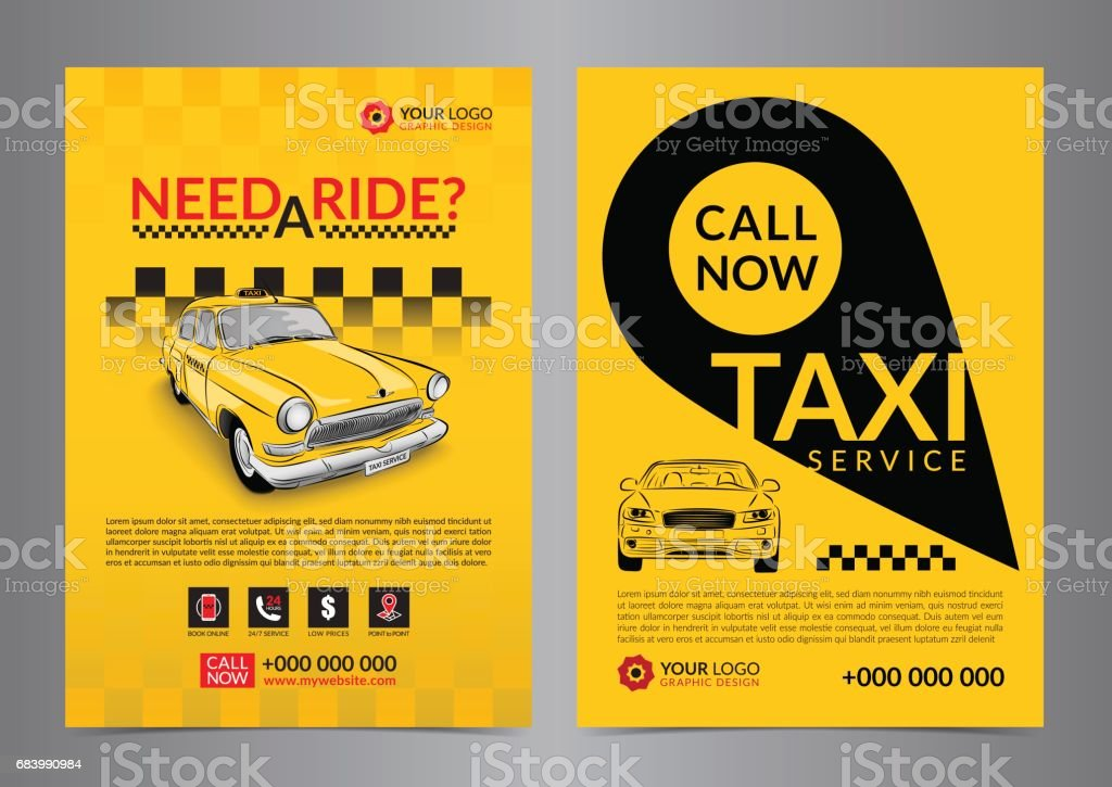 Taxi pickup service design layout templates. A4 call taxi concept flyer. Vector illustration. vector art illustration