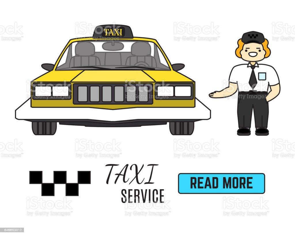 Taxi Service Banner Cab Driver Next To His Taxi Car Flat Vector