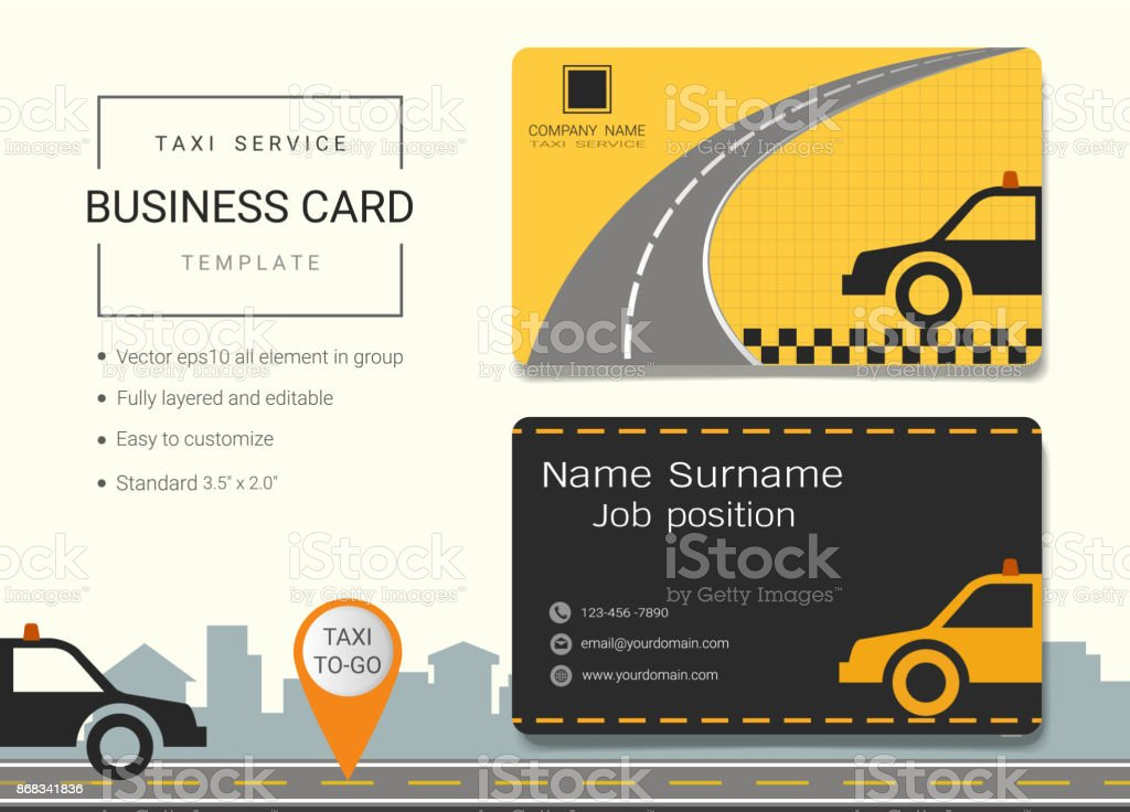 Taxi Service Business Card Or Name Card Template Simple Style Also ...