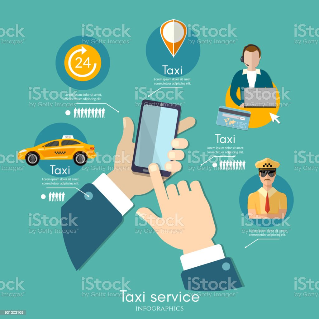 Taxi service infographic. Call book a taxi to the city template. Yellow taxi cab. Hands with smartphone and taxi application vector art illustration