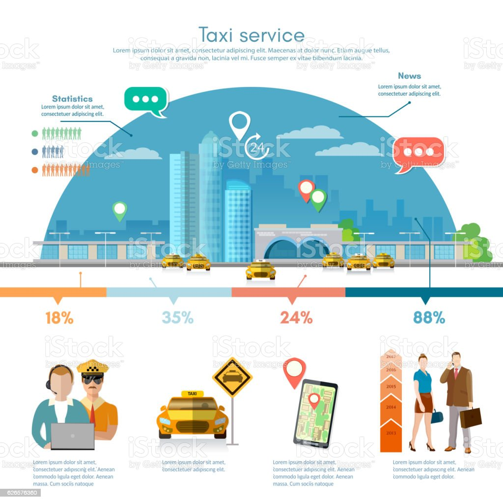 Taxi service infographics, passengers, driver, taxi station vector art illustration