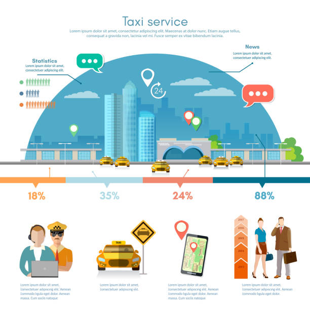 taxi service infographics, passengers, driver, taxi station - 相乗り点のイラスト素材/クリップアート素材/マンガ素材/アイコン素材