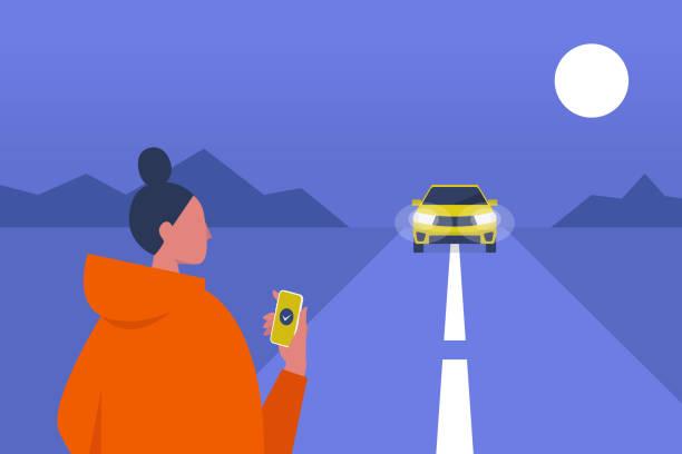 ilustrações, clipart, desenhos animados e ícones de serviço de táxi. aplicação móvel. carpool. tarde da noite. passageira, à espera de um carro. ilustração em vetor editável plana, clip-art - carro mulher