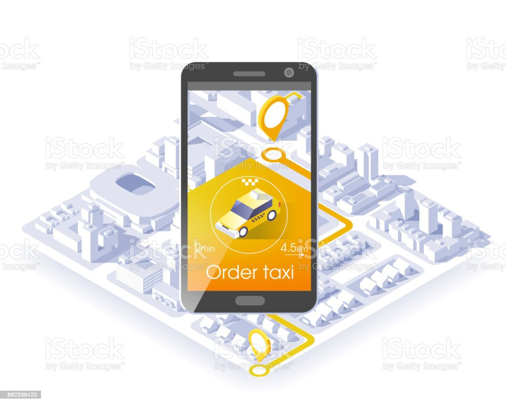 Taxi service mobile application. Isometric city and car on smart phone. Navigate application. Vector illustration. vector art illustration
