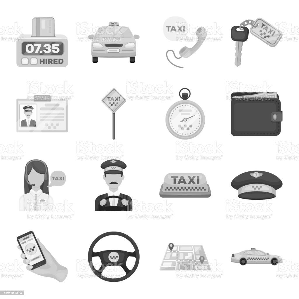 Taxi service svartvita ikoner i set samling för design. Taxichauffören och transport vektor symbol lager web illustration. - Royaltyfri Avsändare vektorgrafik