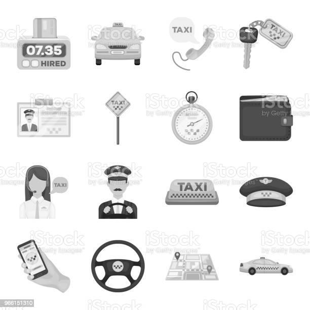 Taxi Service Svartvita Ikoner I Set Samling För Design Taxichauffören Och Transport Vektor Symbol Lager Web Illustration-vektorgrafik och fler bilder på Avsändare