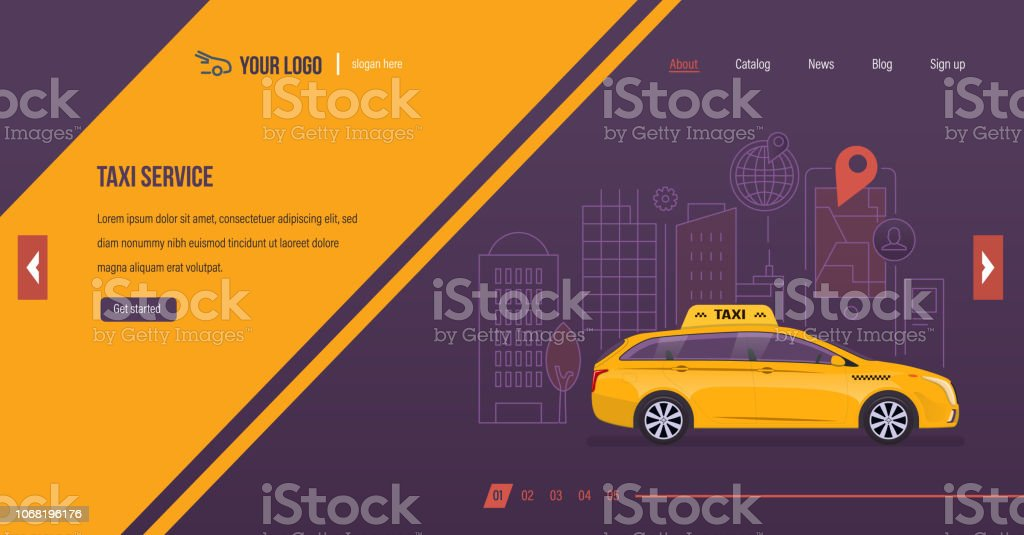 Taxi Service Order Vehicle For Trip Around City Online Taxi Stock