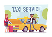 Taxi service poster. Female passenger with luggage and driver near yellow cab car, comfortable city transportation to any destination. Vector flat style cartoon illustration isolated, white background
