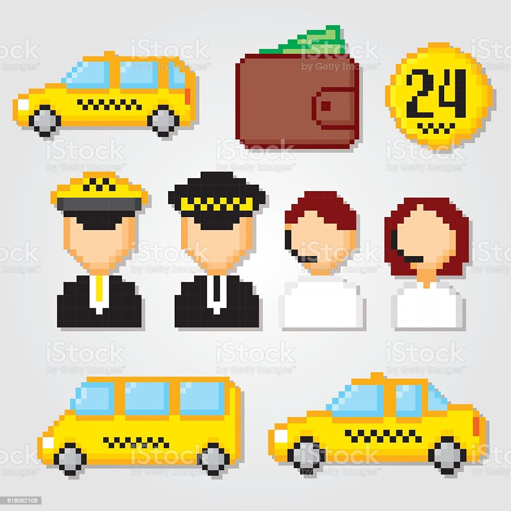 Taxi Service Set Pixel Art Old School Computer Graphic Style