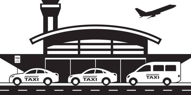 stockillustraties, clipart, cartoons en iconen met taxi service van en naar de luchthaven - airport pickup